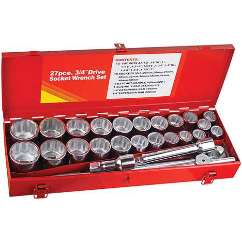 SOCKET SET METRIC & IMPERIAL 3/4 inch SOCKET SET 27pc JUMBO SOCKETS HAND TOOLS