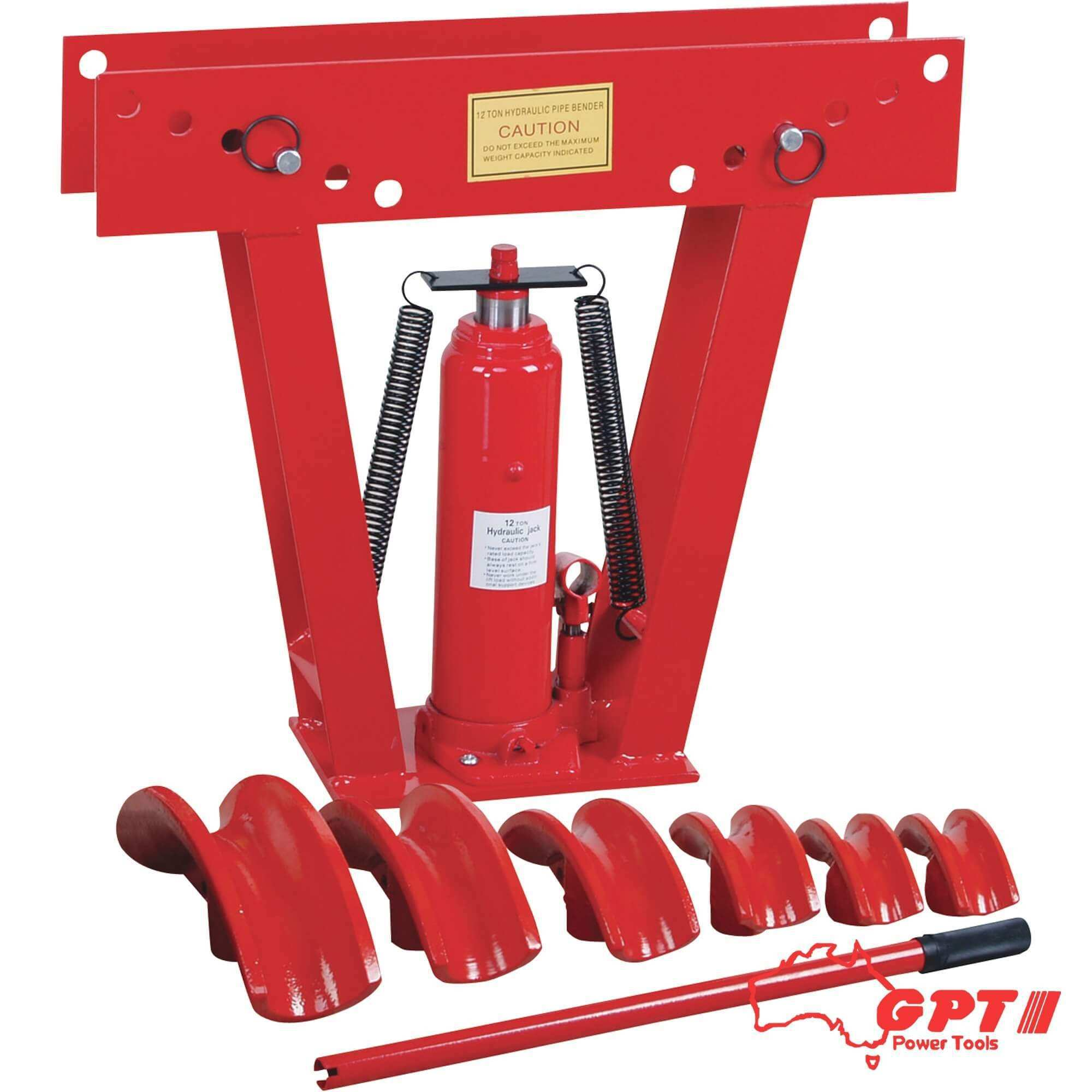 12 TON GPT HYDRAULIC PIPE BENDER W/ 5 PIPE ATTACHMENT | 90⁰ BEND 50MM MAX BEND