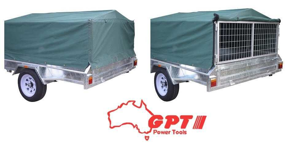 NEW GPT CAGED 8X5 900MM TRAILER COVER, GREEN/GREY WOVEN CANVAS